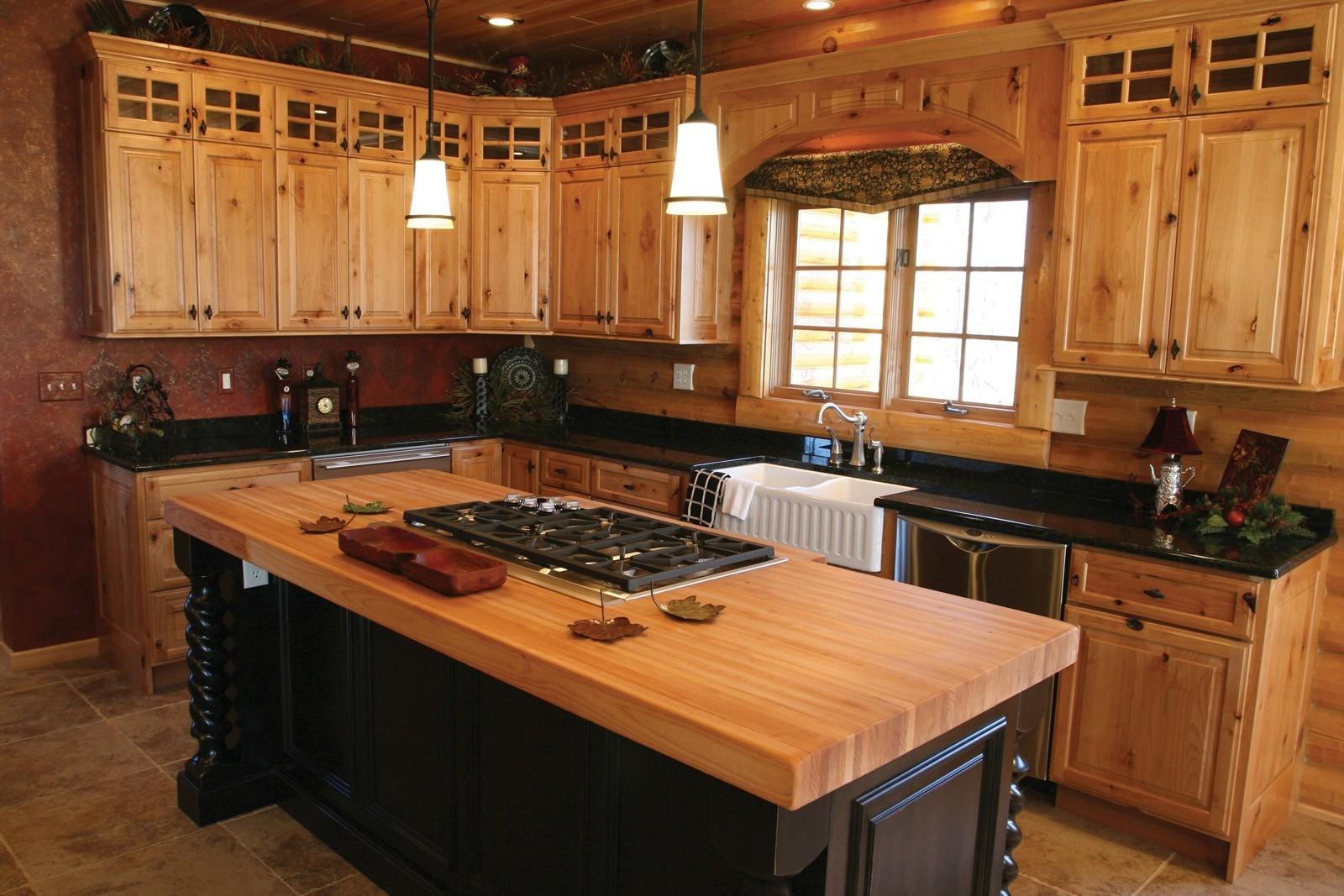 Beaded Hickory Kitchen Cabinets