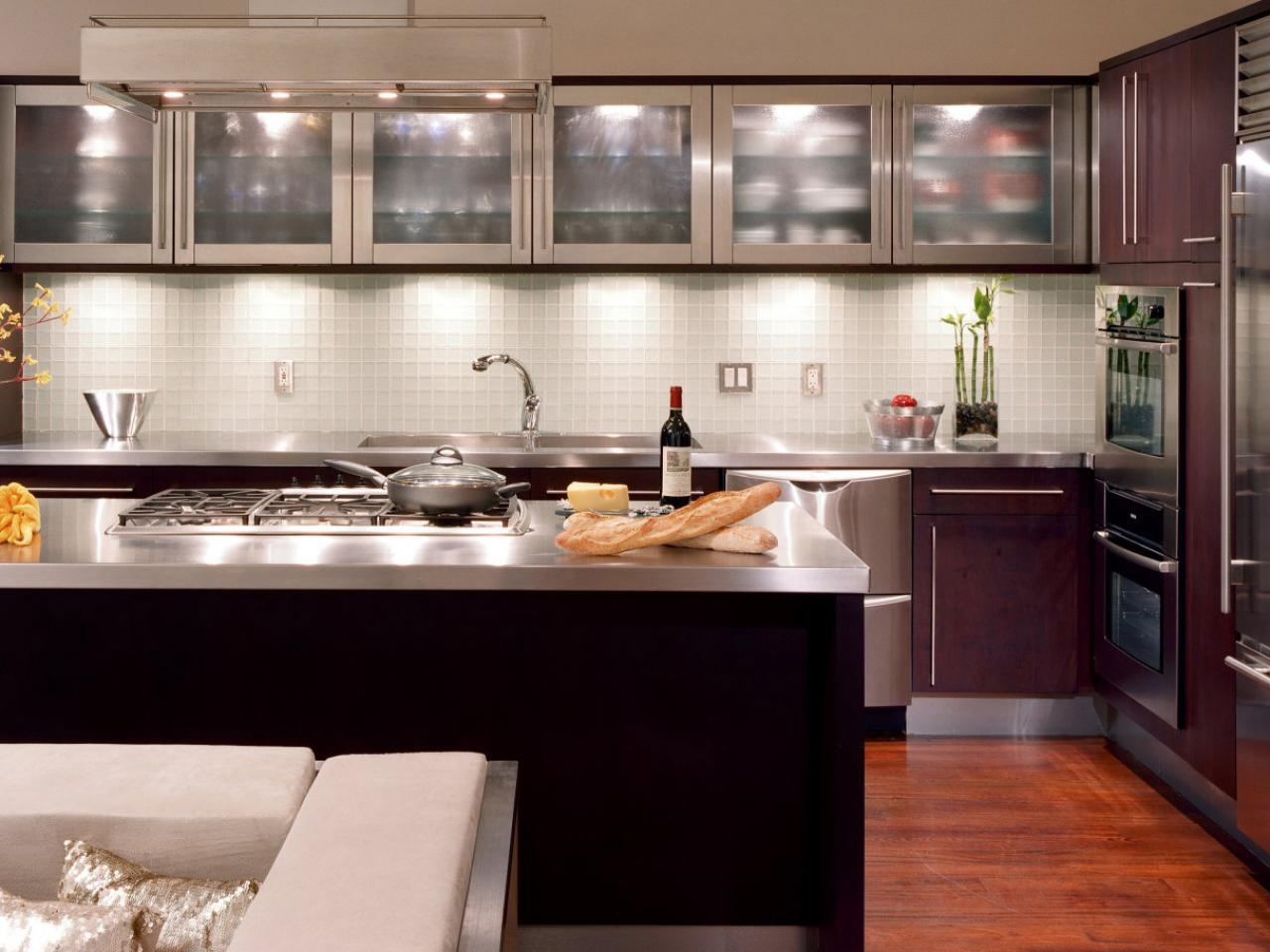 Black Kitchen Cabinets With Frosted Glass