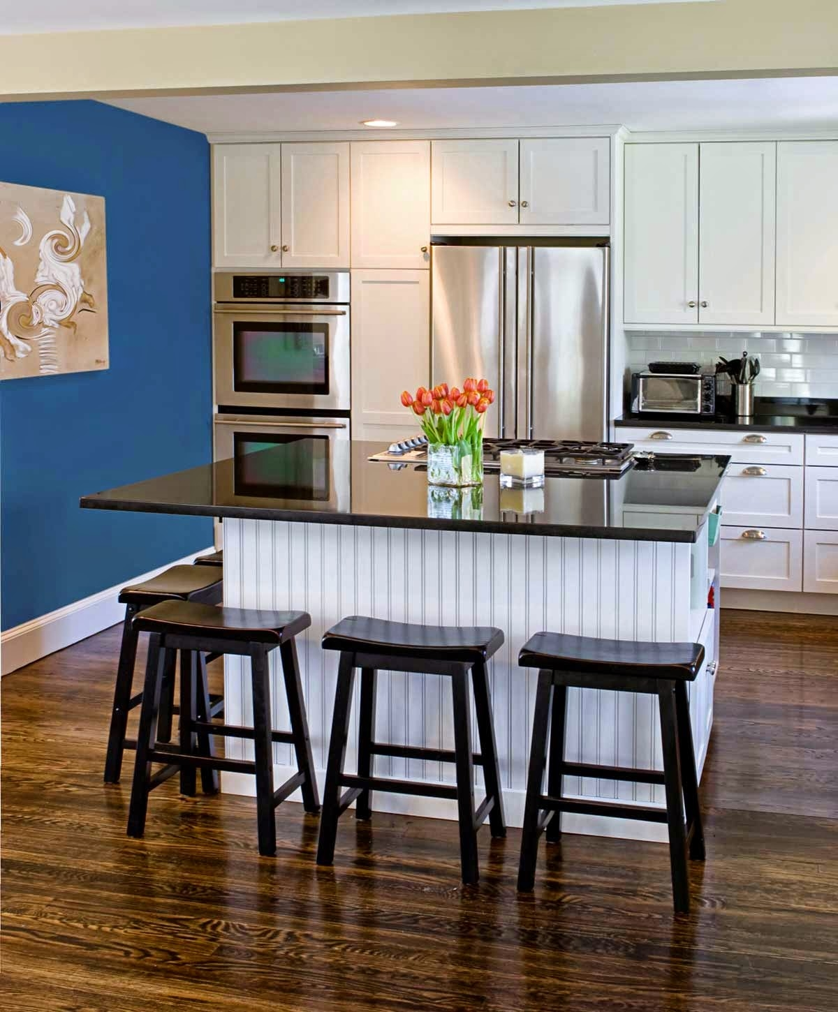 Blue Accent Kitchen Cabinets