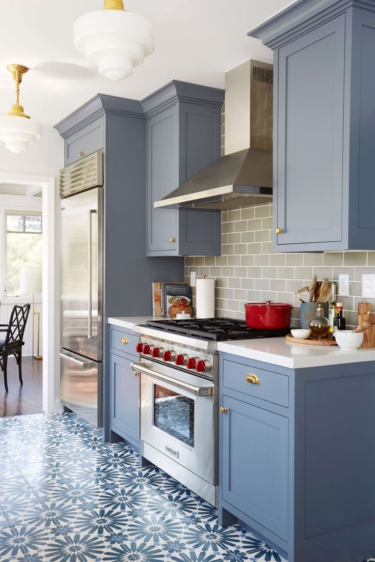 Blue Kitchen Cabinets Benjamin Moorebenjamin moore wolf gray a blue grey painted kitchen cabinets with