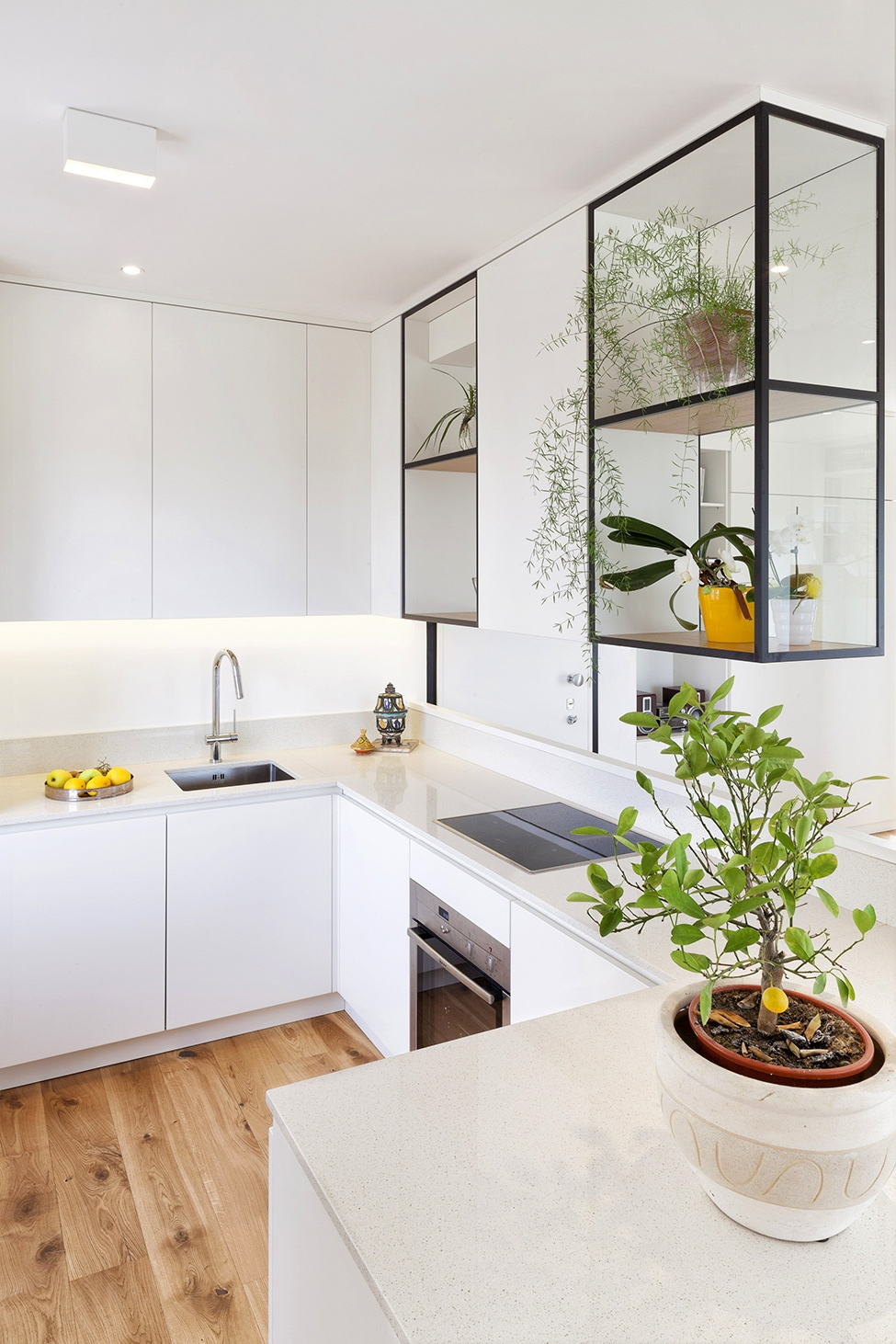 Permalink to Glass Shelves Between Kitchen Cabinets