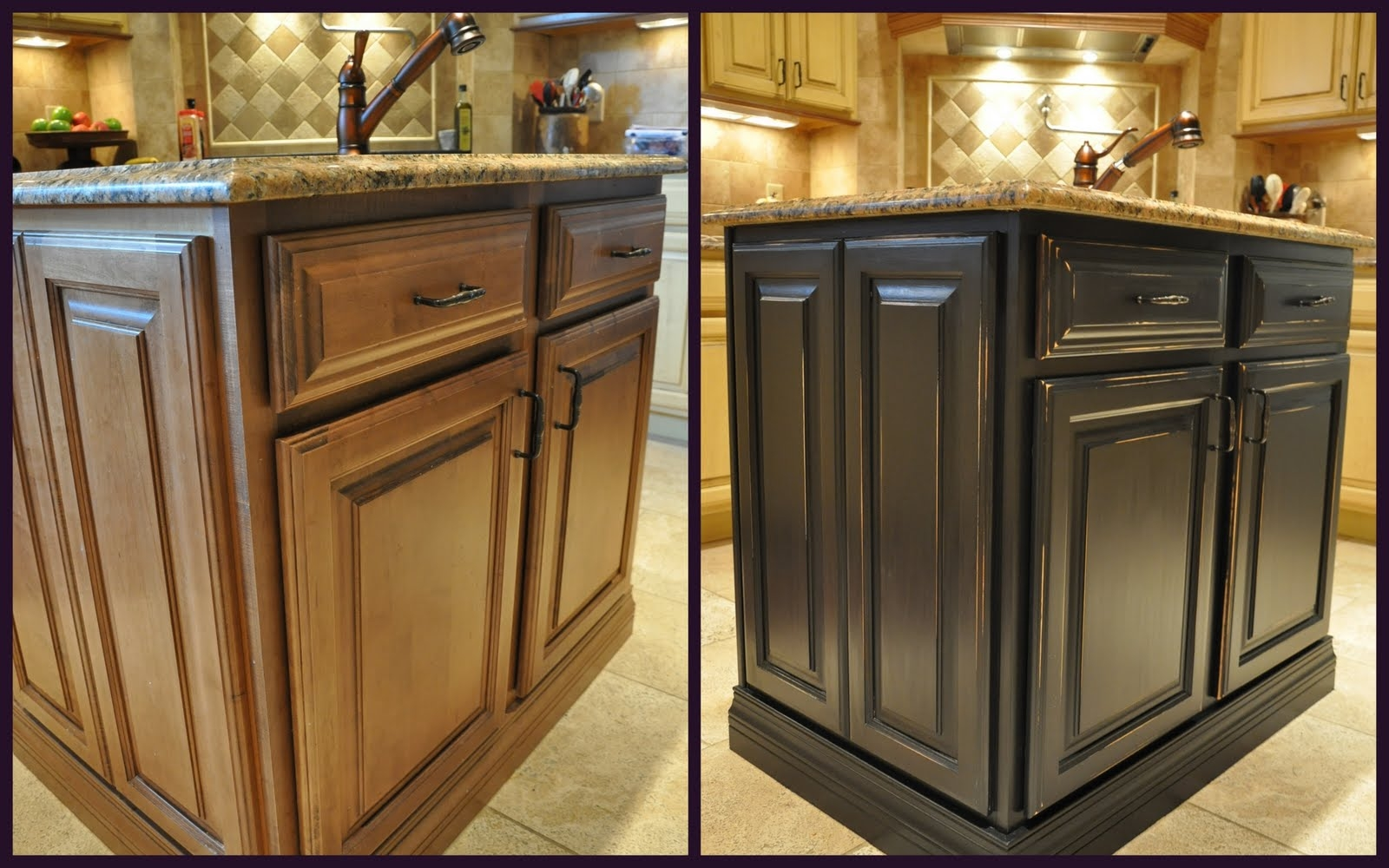 Glazed Kitchen Cabinets Before And Aftergorgeous brown painted kitchen cabinets before and after glazed