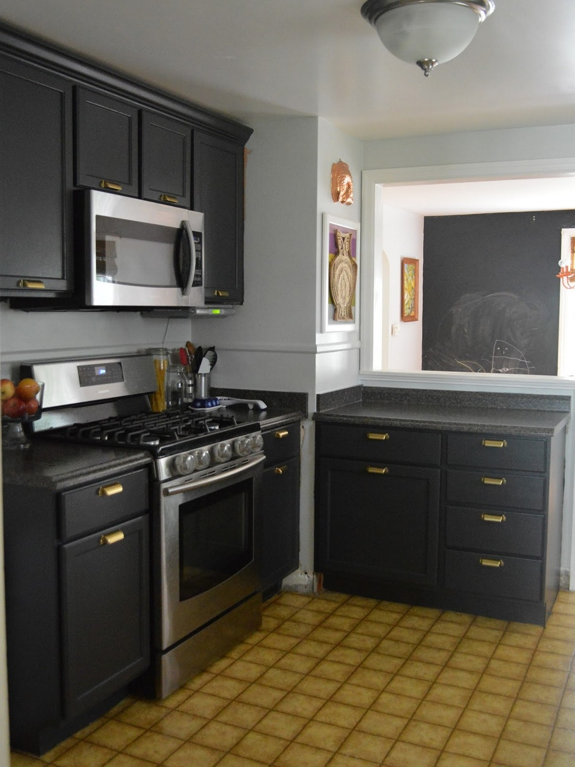 Gray Kitchen Cabinets And Walls