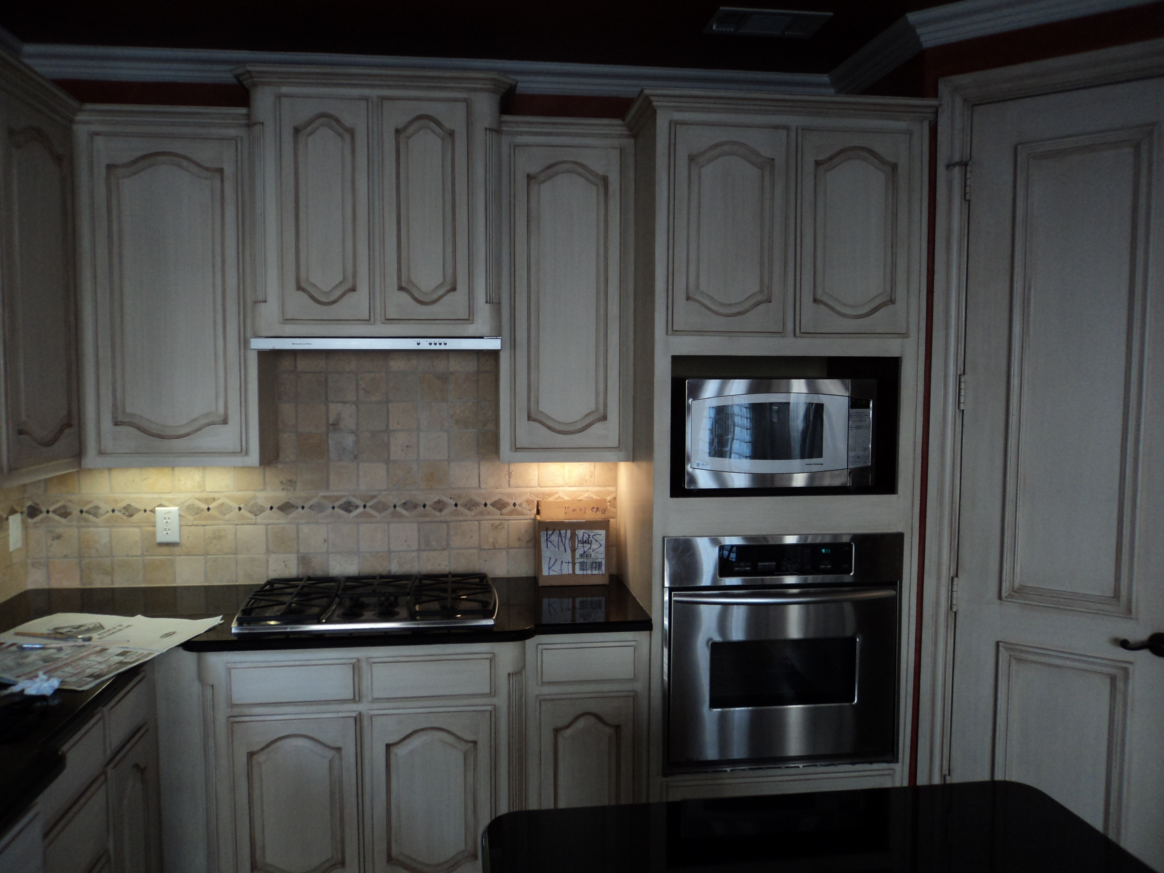 Gray Stained Oak Kitchen Cabinets