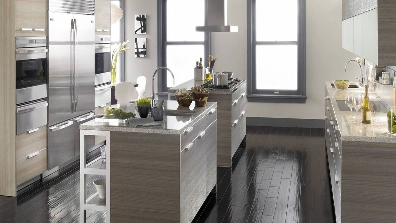 Grey Kitchen Cabinets With Dark Floors