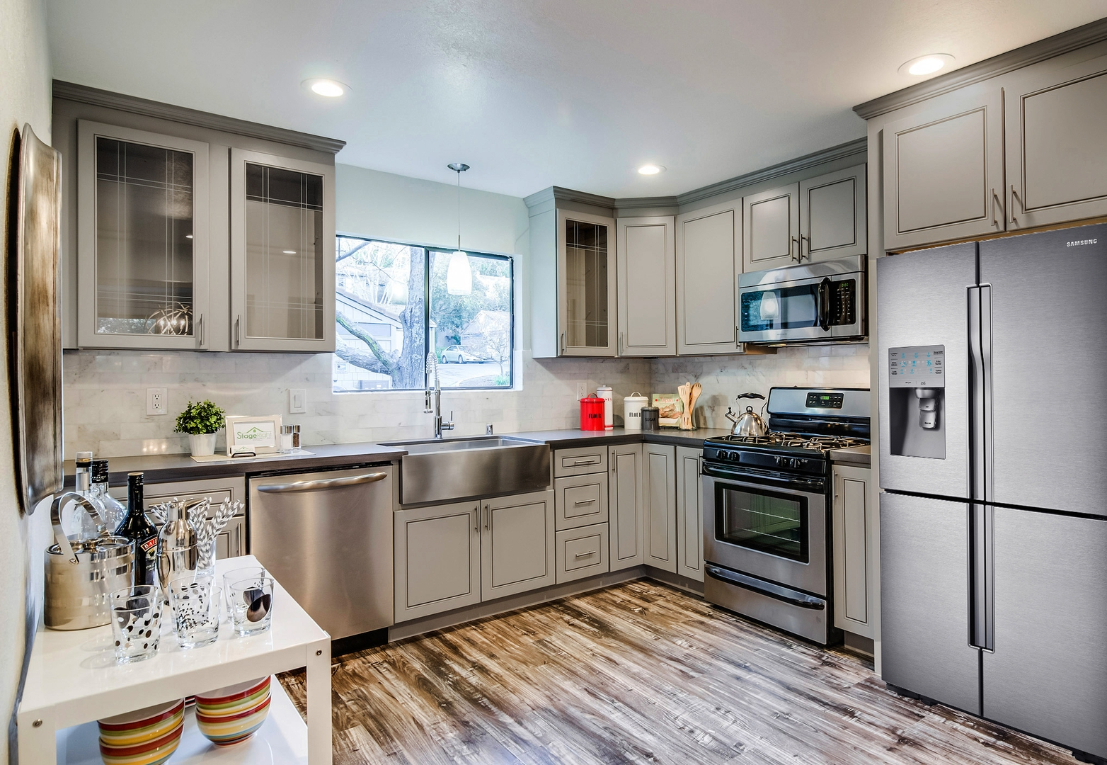 Grey Stained Maple Kitchen Cabinets