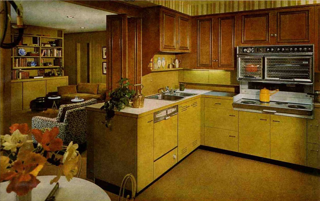 Harvest Gold Kitchen Cabinets