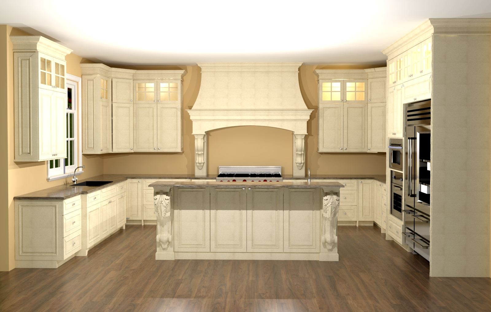 Island Kitchen Cabinets Designlarge kitchen with custom hood features large enkeboll corbels on