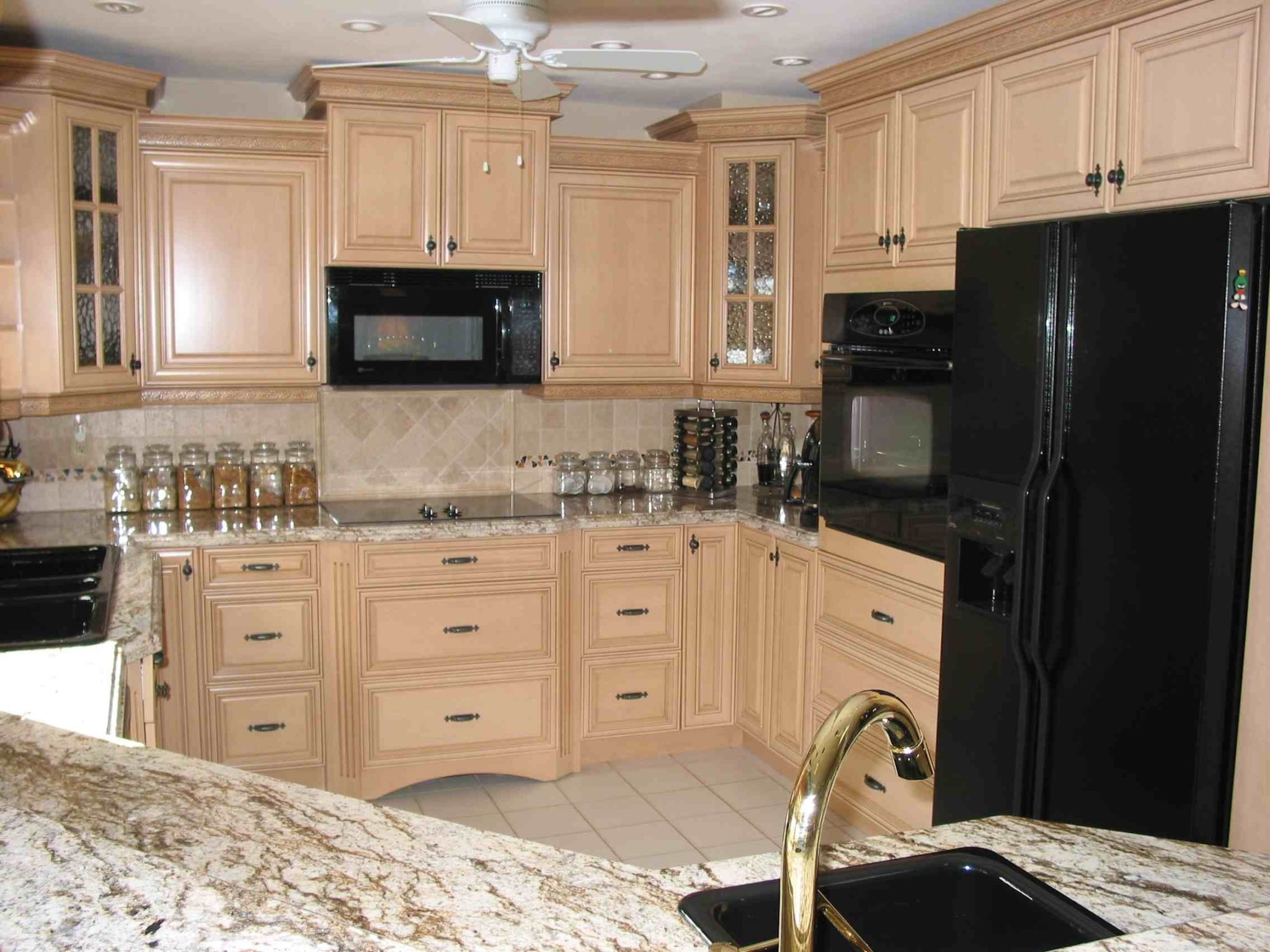 Ivory Kitchen Cabinets With Black Appliances