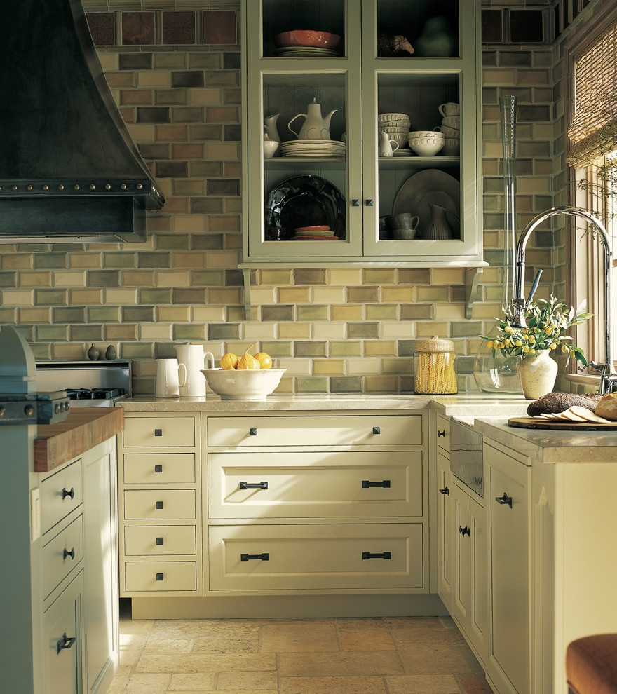 Kitchen Cabinet Wall Tilesrustic hickory kitchen cabinets kitchen traditional with