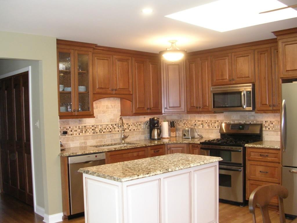 Oak Kitchen Cabinets With White Island | Kitchen Cabinet