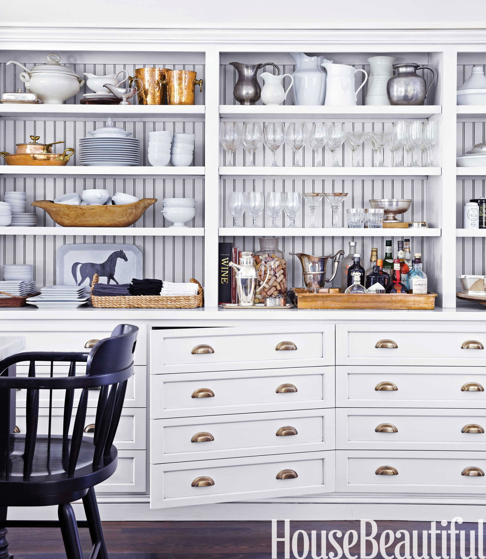 Open Kitchen Cabinets With Baskets