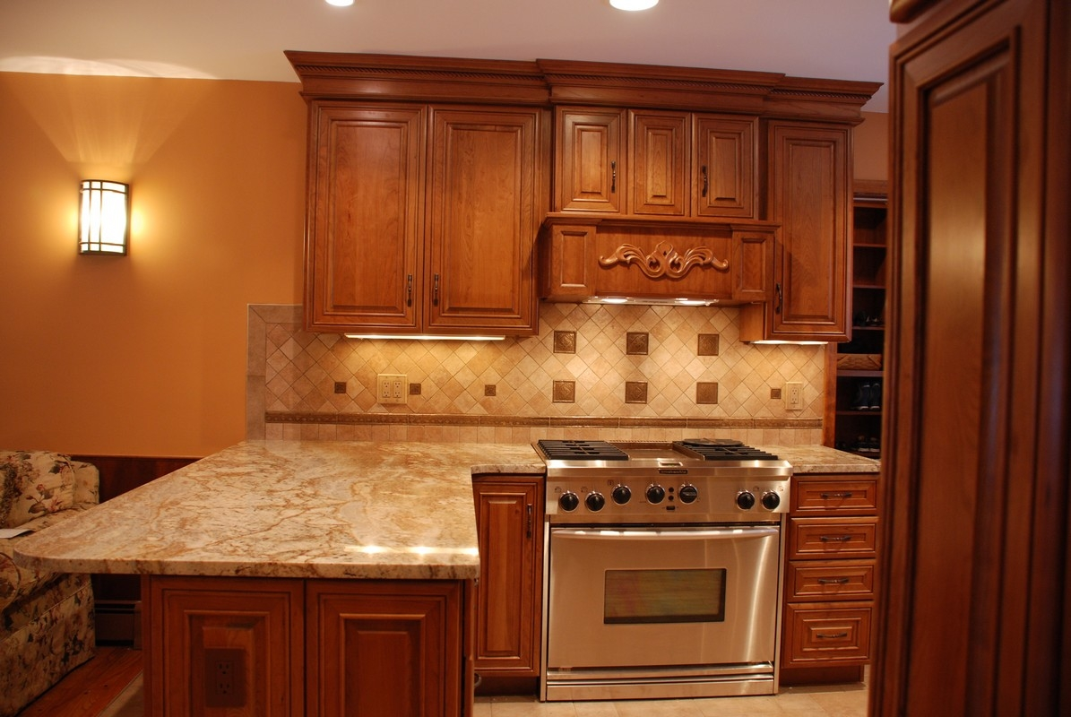 Orange Wood Kitchen Cabinets
