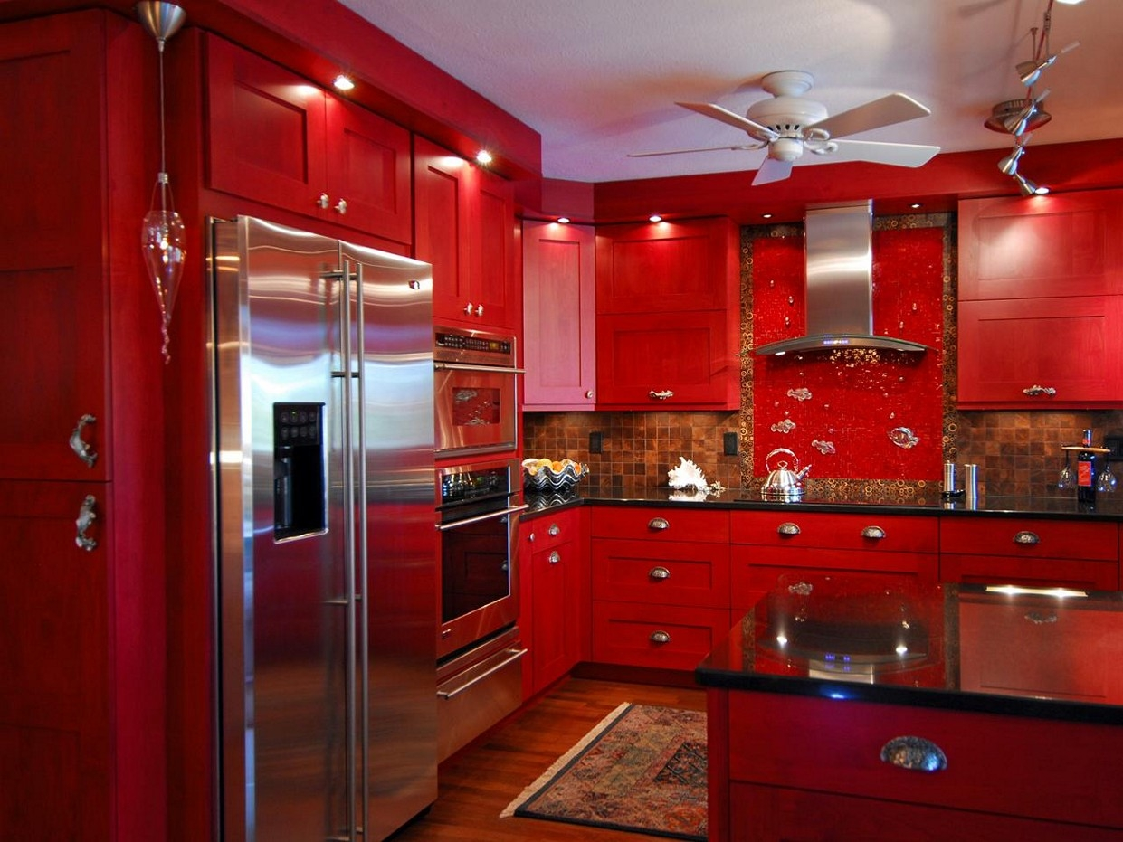 Red Gloss Kitchen Cabinet Doors