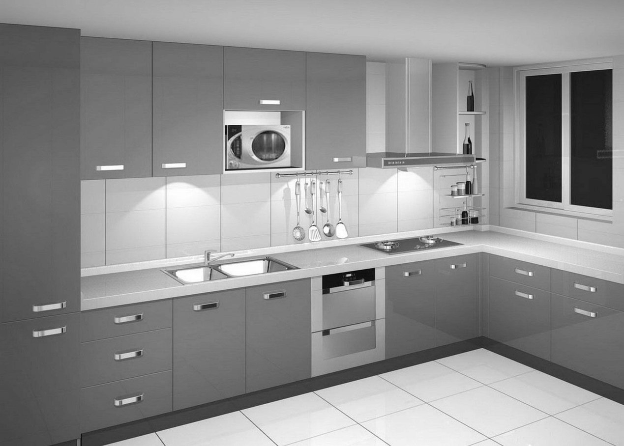 Silver Color Kitchen Cabinets