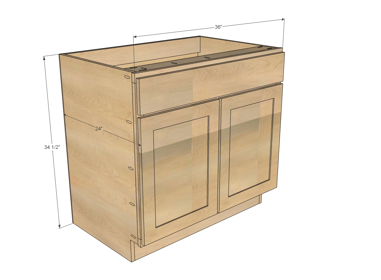 Single Kitchen Sink Cabinet Width