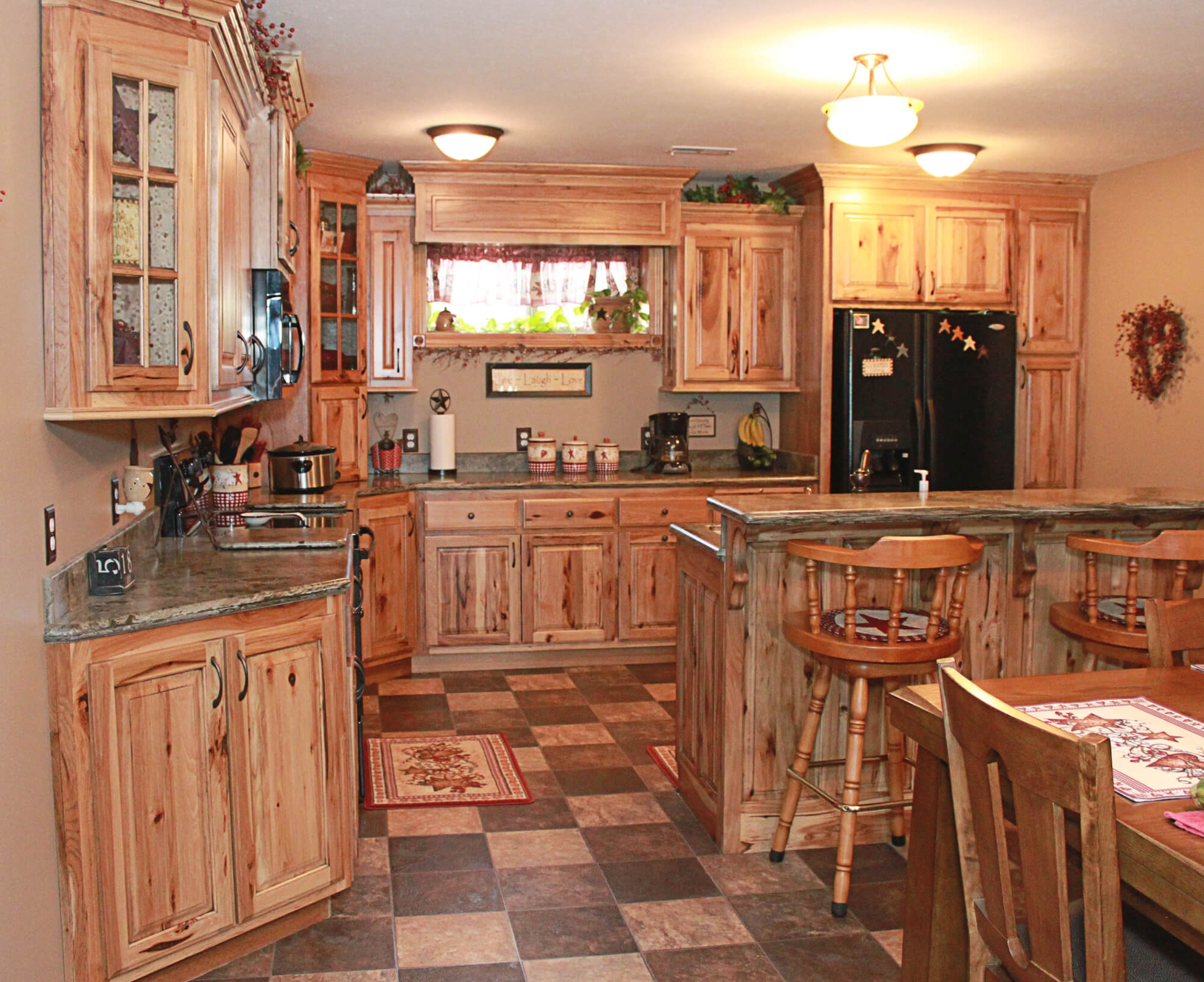 Solid Wood Hickory Kitchen Cabinets