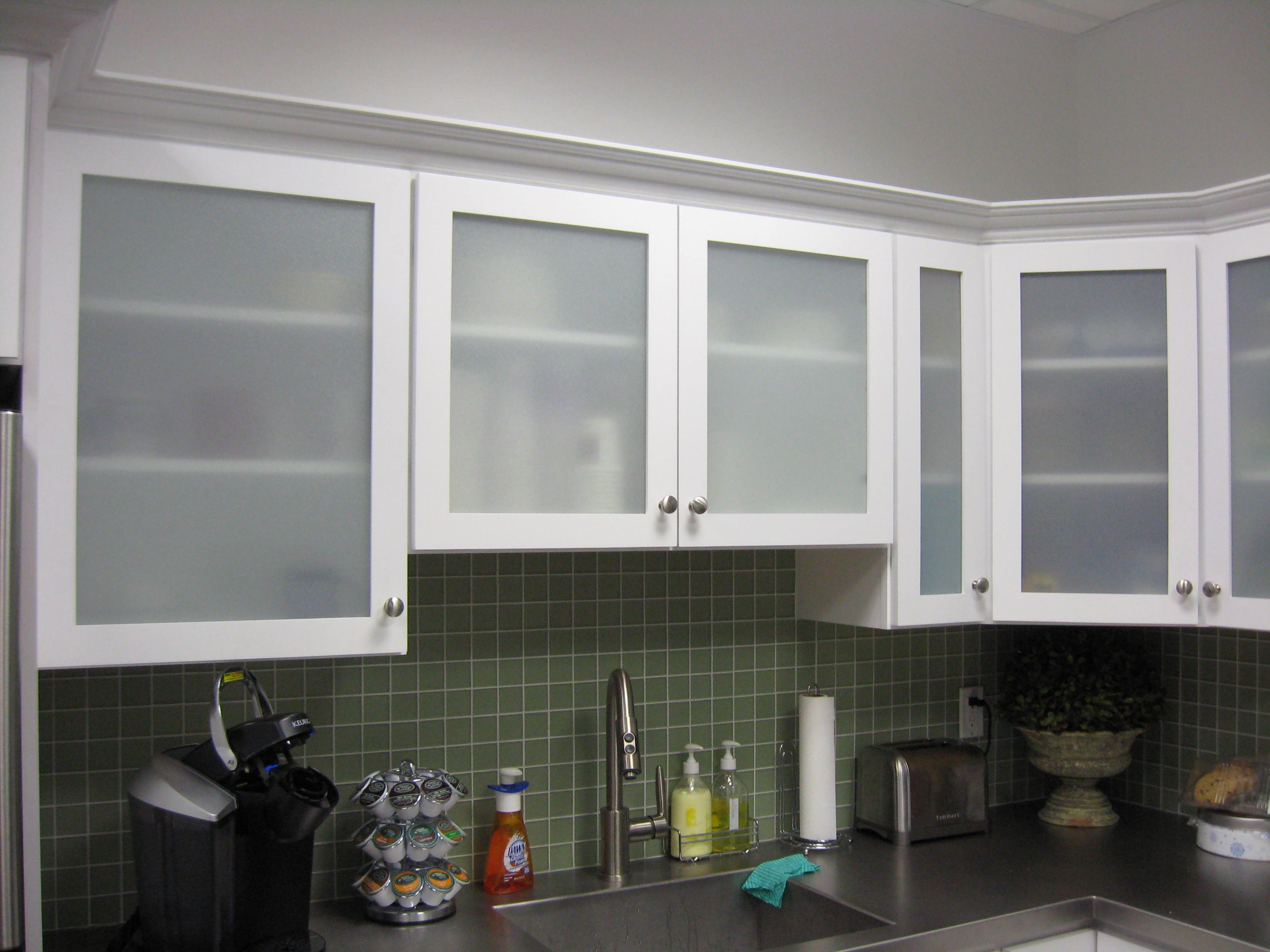 White Kitchen Cabinets With Frosted Glass
