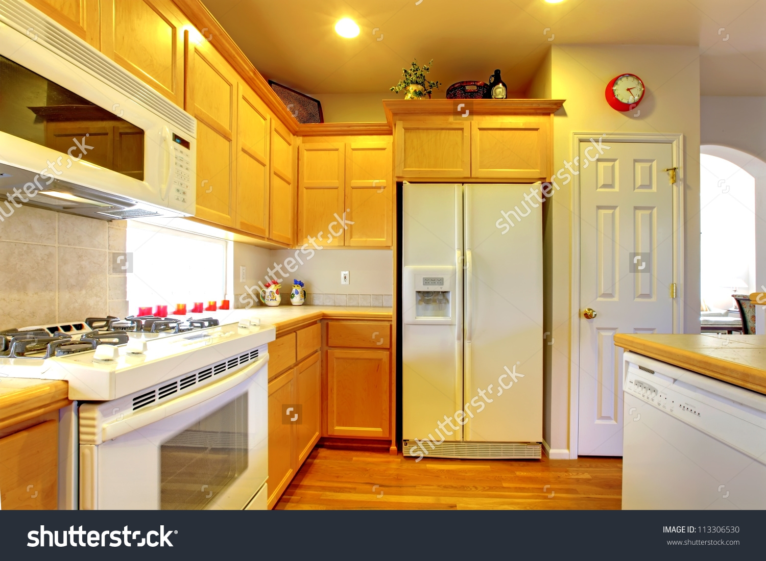 Yellow Kitchen Cabinets White Appliances