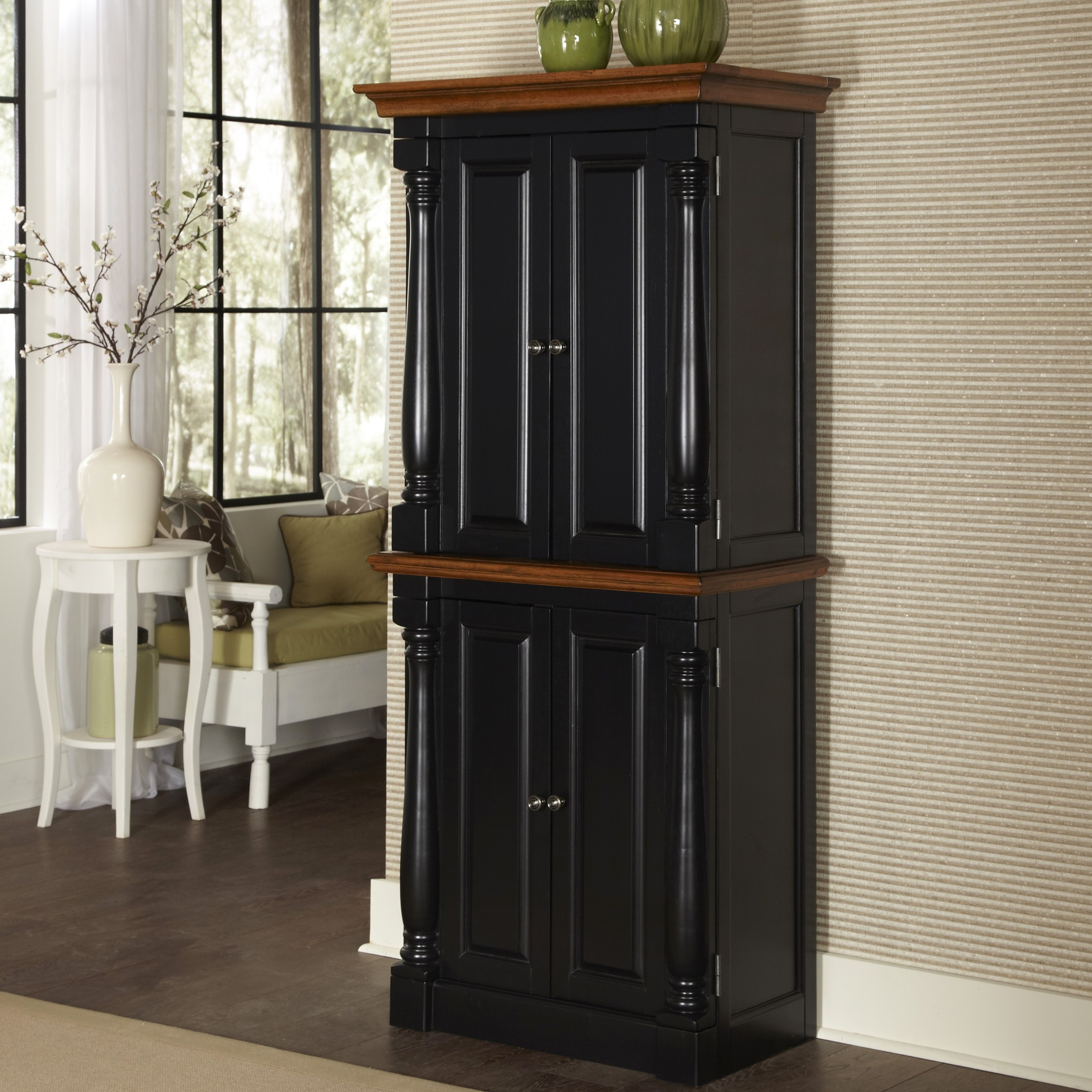 Black Wood Kitchen Storage Cabinet