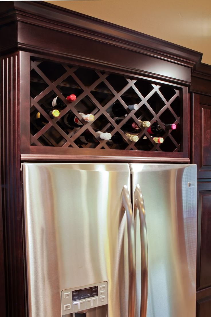 Built Wine Rack Above Kitchen Cabinets