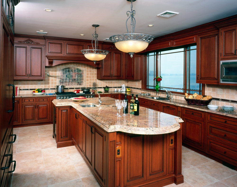 Cherry Kitchen Cabinets With Tile Floor