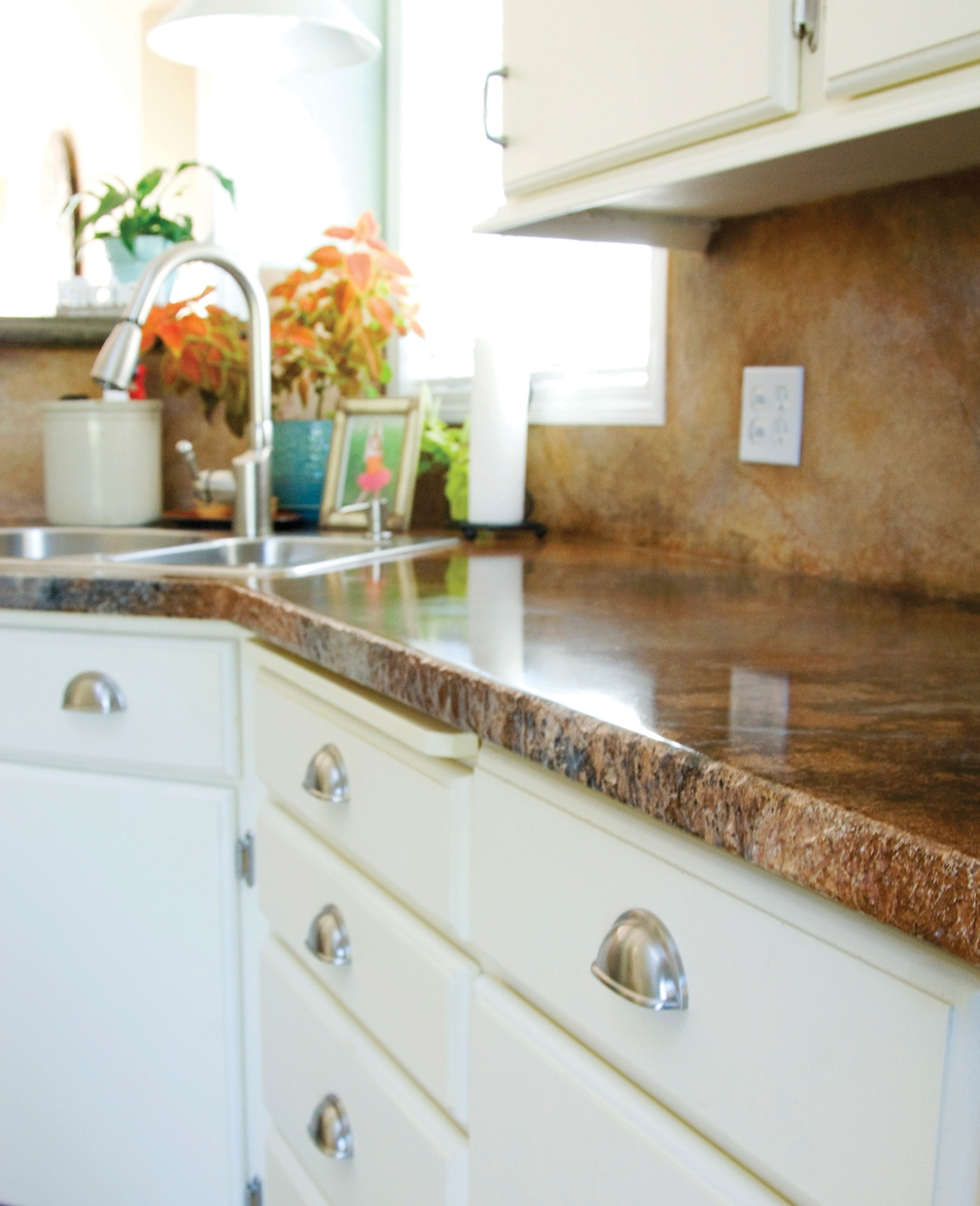 Concrete Kitchen Countertops With White Cabinets