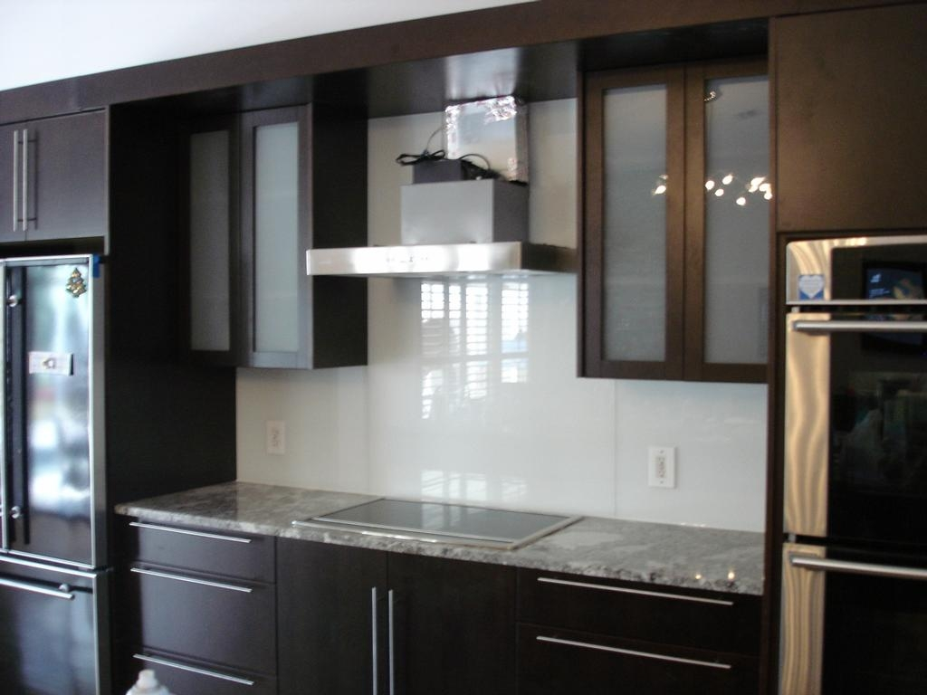 Dark Kitchen Cabinets With Frosted Glass