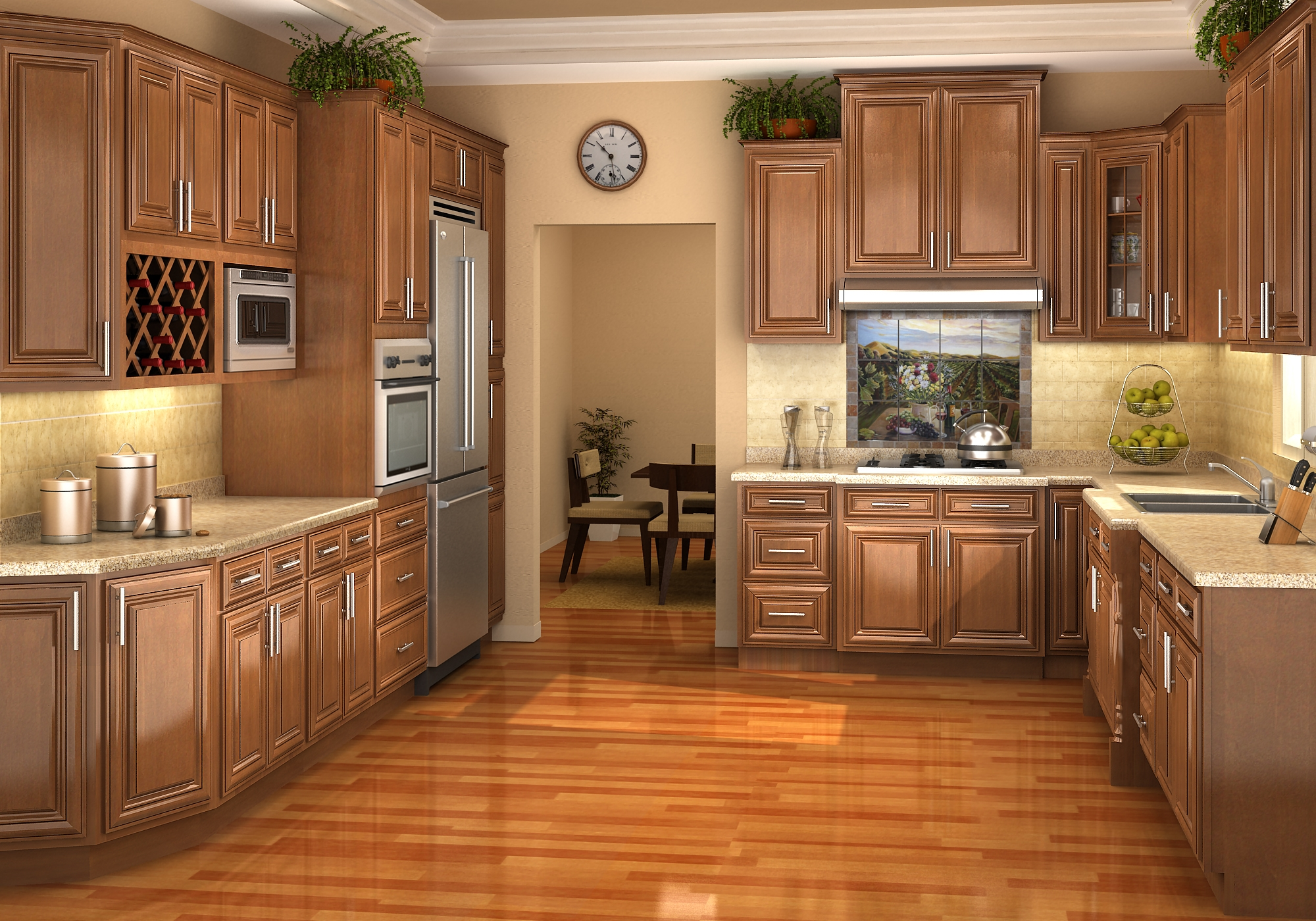 Glaze Honey Oak Kitchen Cabinets
