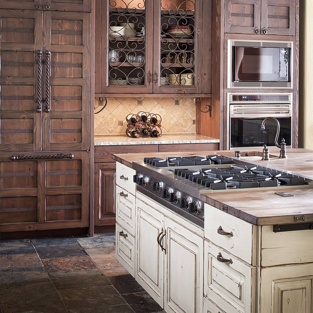 White Distressed Wood Kitchen Cabinets