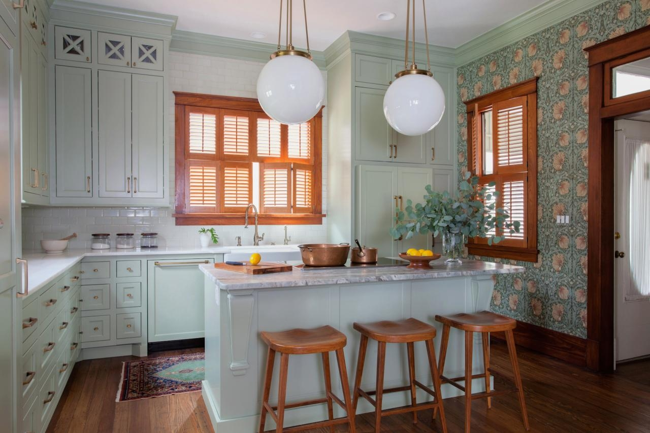 White Kitchen Cabinets With Natural Wood Trim