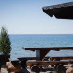 rustic picnic table water front