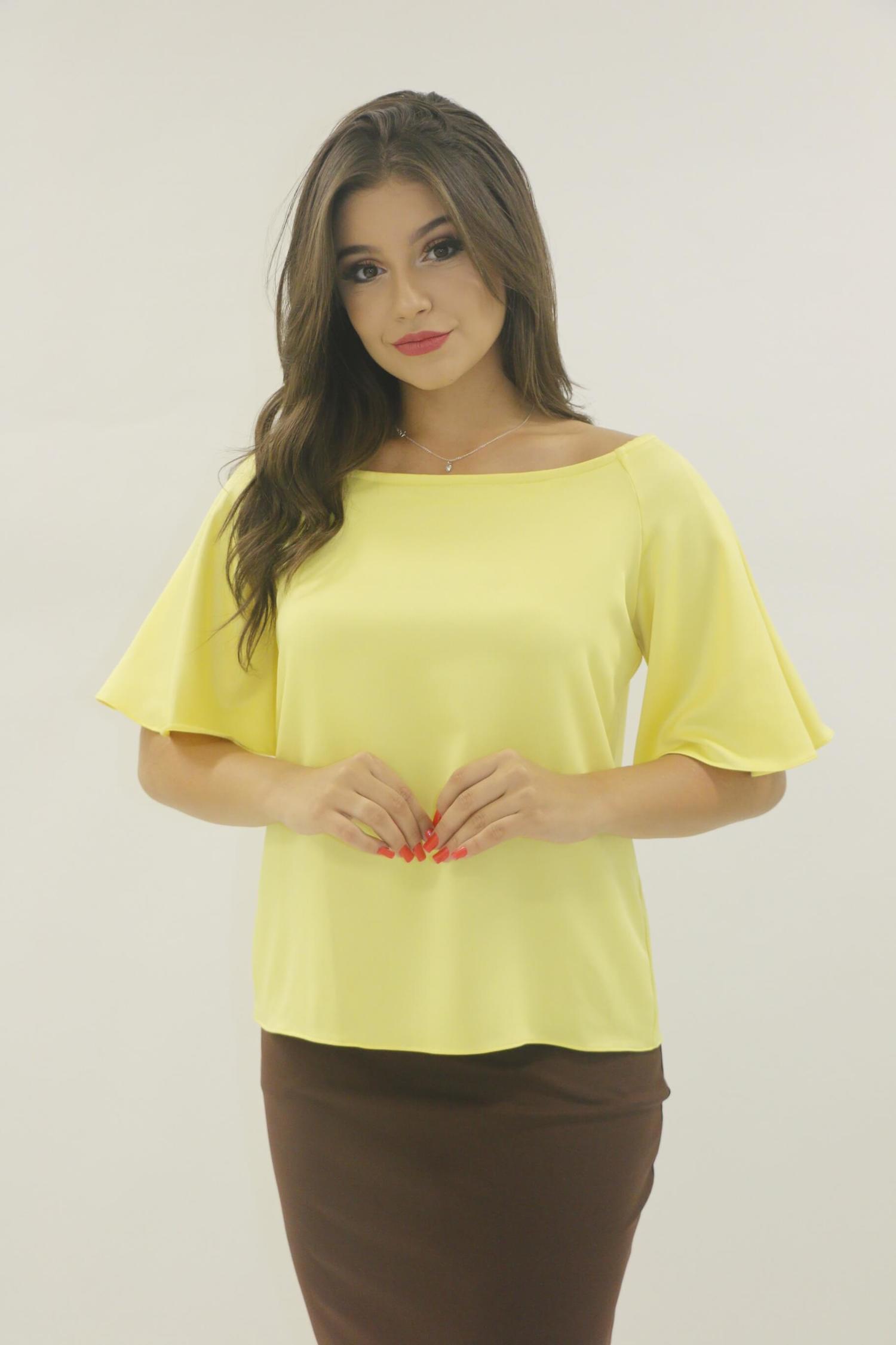 blusa amarela de cetim