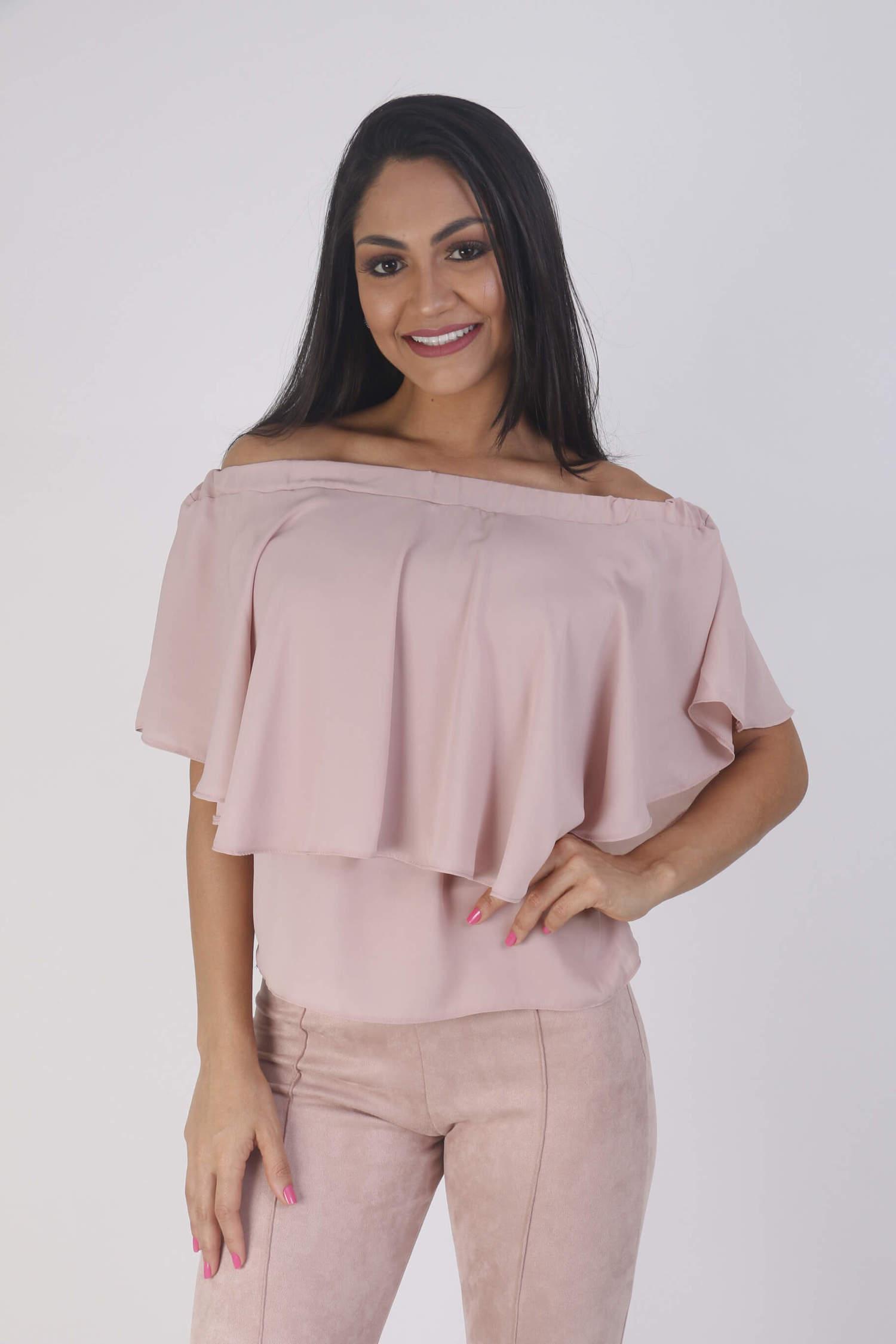 blusa ombro a ombro rosa seco