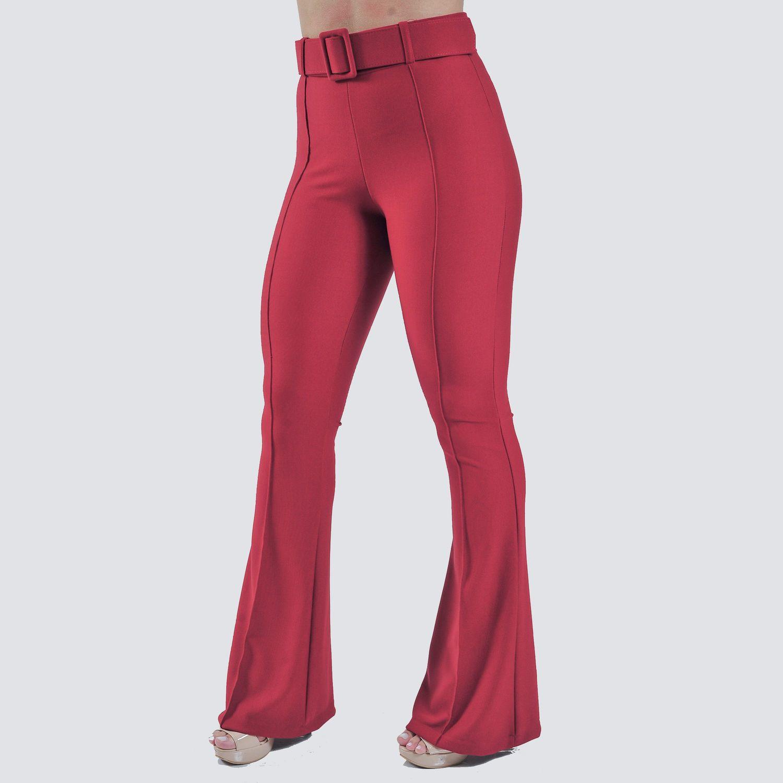 Calça Vermelha com Cinto