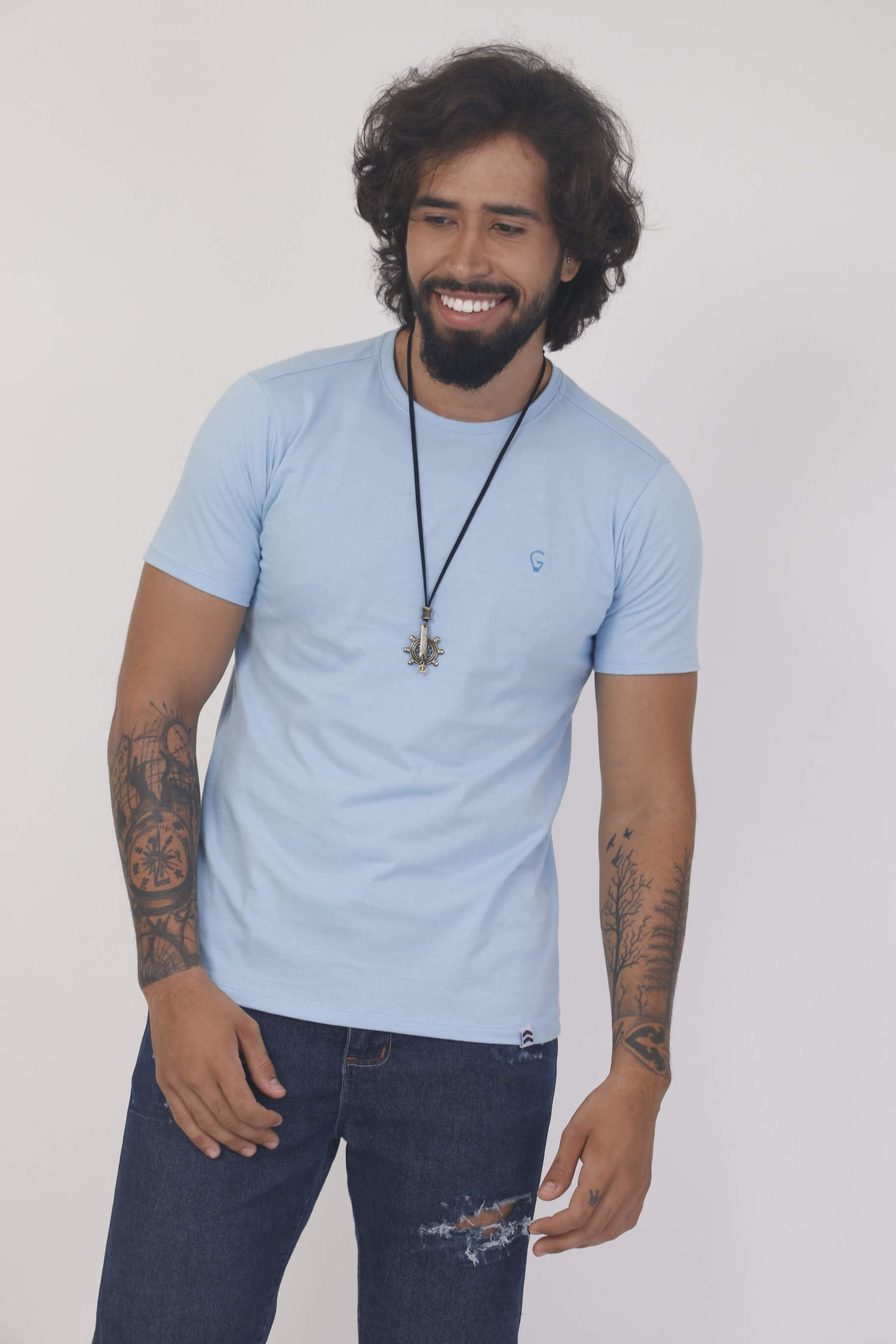 Camiseta Azul Claro Slim