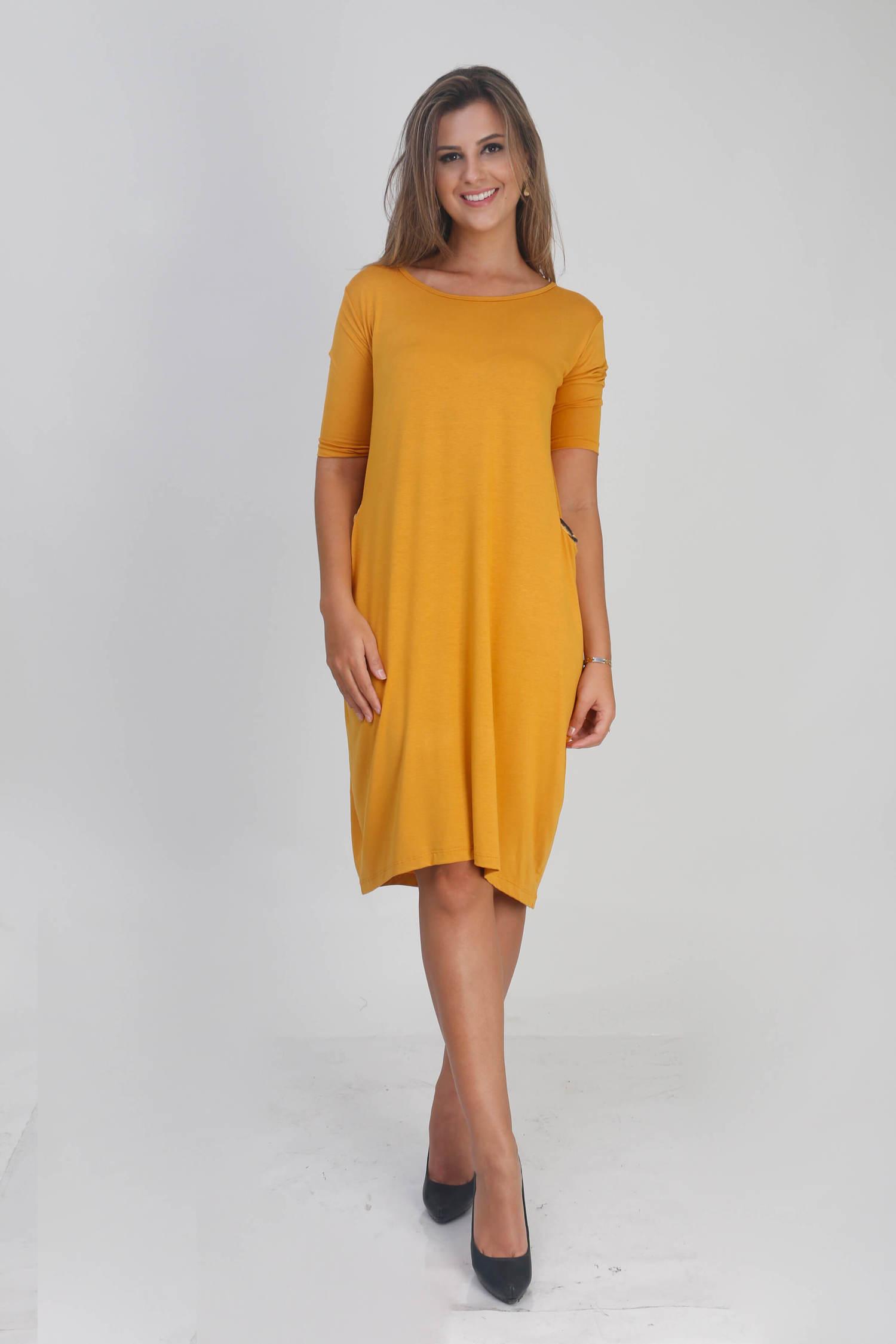 Vestido Bolsos Amarelo