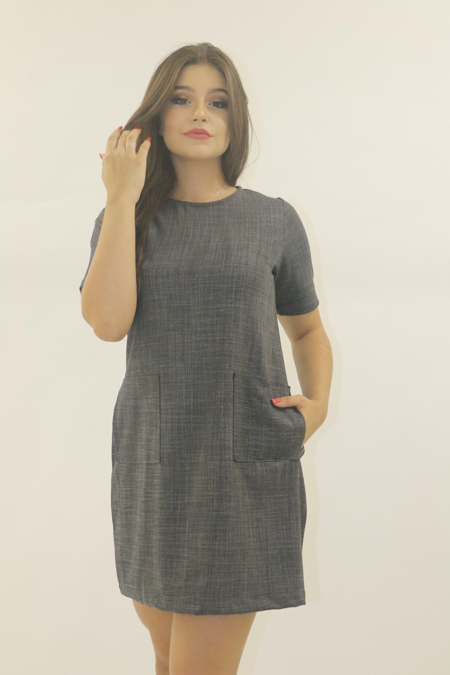 Vestido cinza com bolso