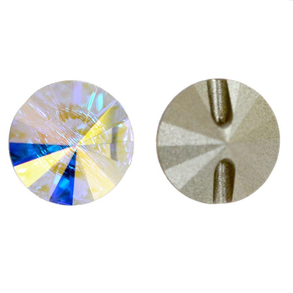 Botão Rivolli Swarovski Cristal AB 14mm 36pcs