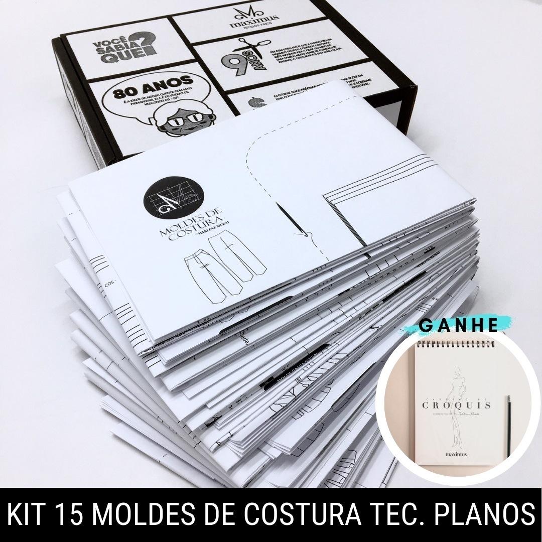 Kit 15 moldes de costura para tecido plano - Marlene Mukai
