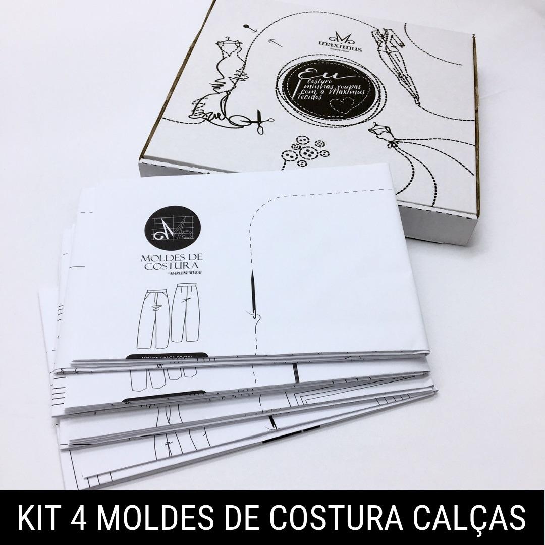Kit 4 moldes de costura calças - Marlene Mukai