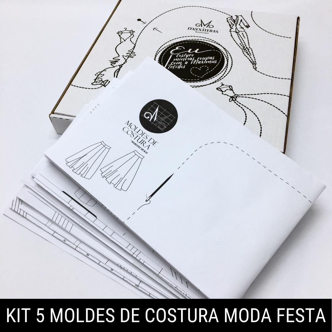 Kit 5 moldes de costura moda festa - Marlene Mukai