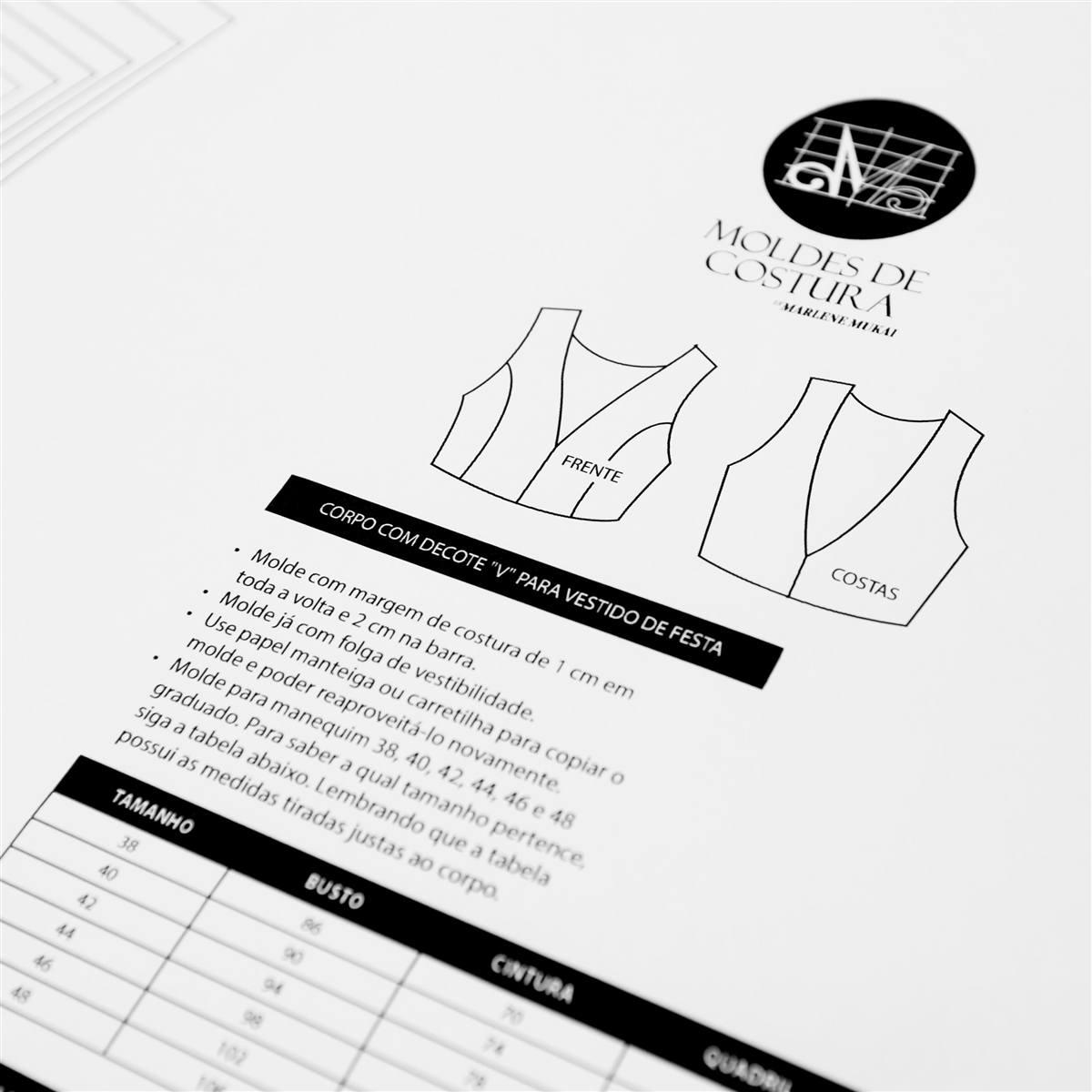 a1d015968 Molde corpo com decote V p/ vestido 38 ao 48 - Marlene Mukai