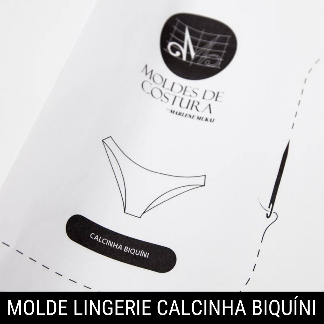 Molde lingerie calcinha biquíni - by Marlene Mukai