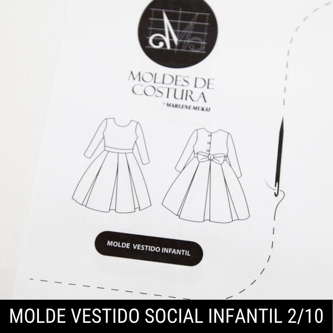 Molde vestido social infantil 1 ao 10 - Marlene Mukai