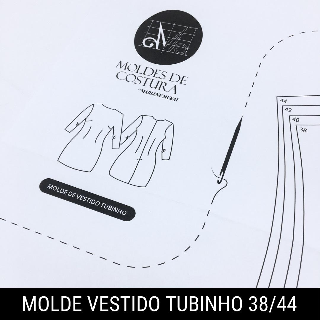 Molde vestido tubinho TM 38 ao 44 - by Marlene Mukai