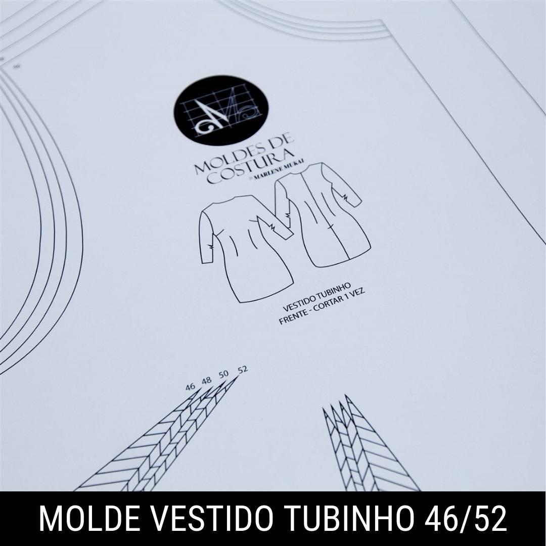 Molde vestido tubinho TM 46 ao 52 - by Marlene Mukai