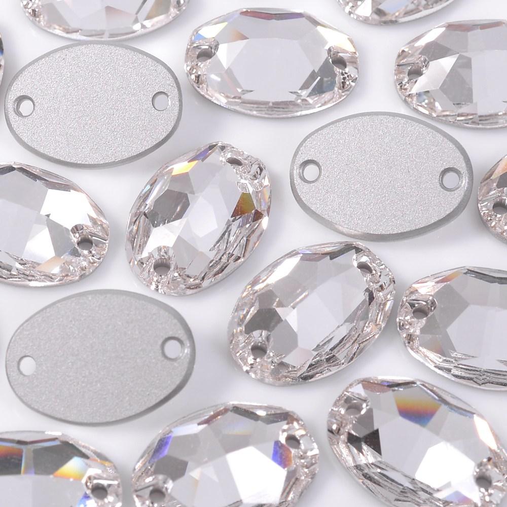 Oval Costura 2 Furos Preciosa Cristal 16x11mm 72pcs