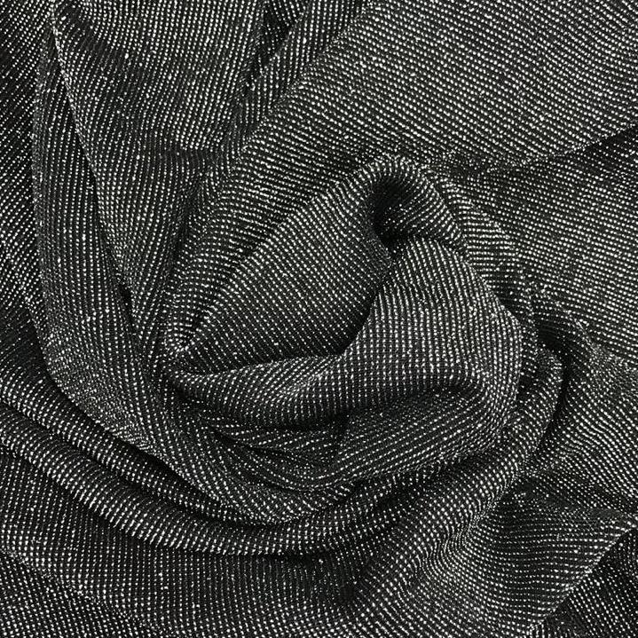 Tecido Malha Lurex Preto e Prata