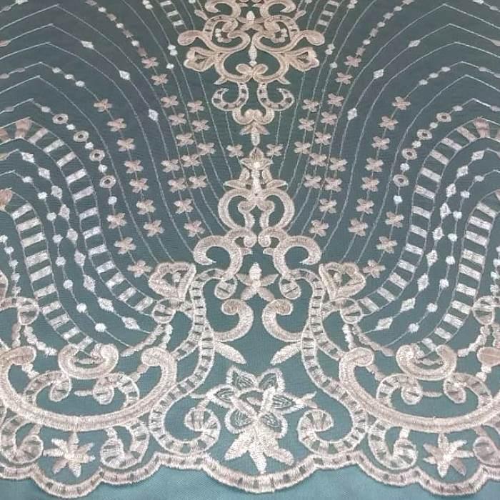 Tecido Tule Bordado Arabesco Branco (Estrelas)